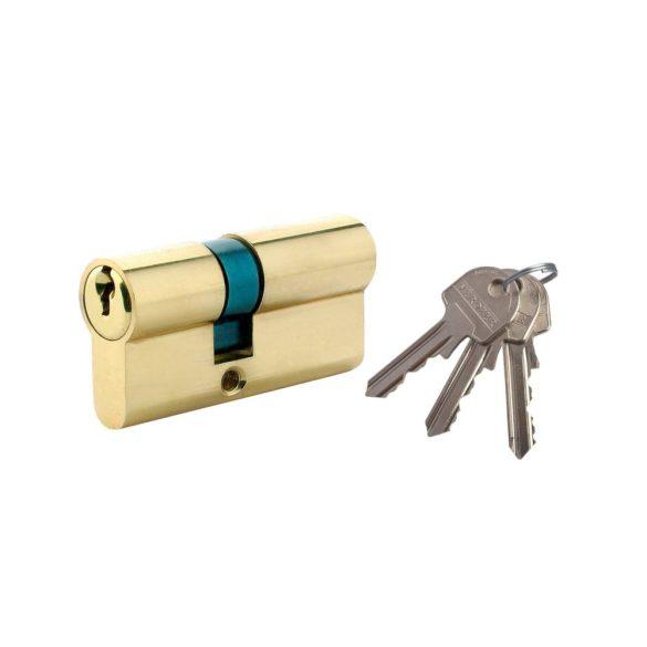 Biztonsági zár,  természetes sárgaréz, standard 3 kulcs, 60 30 x 30 mm