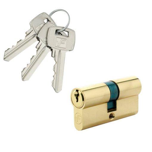 Biztonsági zár, természetes sárgaréz, szabványos 3 kulcs,90 35 x 55 mm
