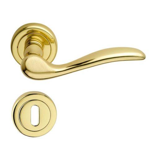 Tolosa Verofer beltéri ajtó kilincs, sárgaréz, fényes / szatén arany, 150 x 50 mm
