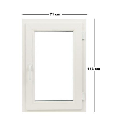 Műanyag ablak fehér 71x116cm 5 kamrás Bukó/Nyíló