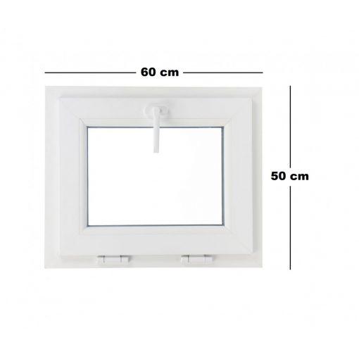 Műanyag ablak fehér 60x50cm 3 kamrás Bukó