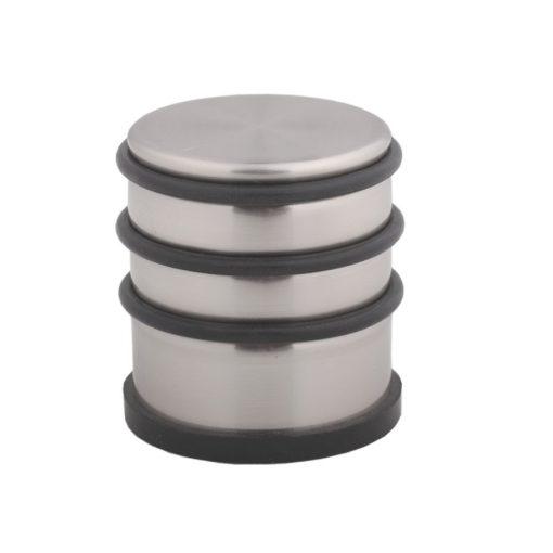 Ajtó ütköző,  ötvözött acél + gumi, nikkelezett szatén,  70 mm