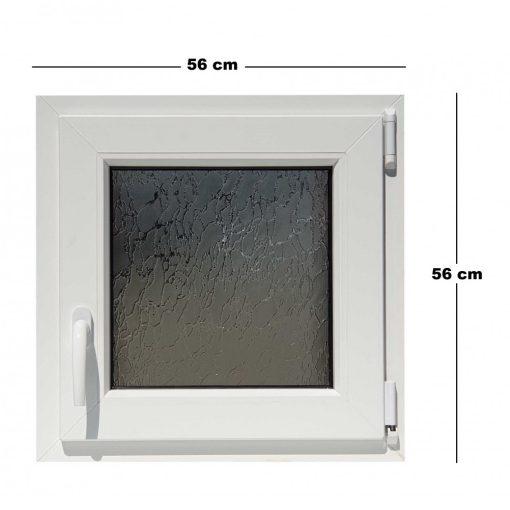 Műanyag ablak, dupla üvegezésű, 5 kamrás, 56x56cm, bukó, Trocal