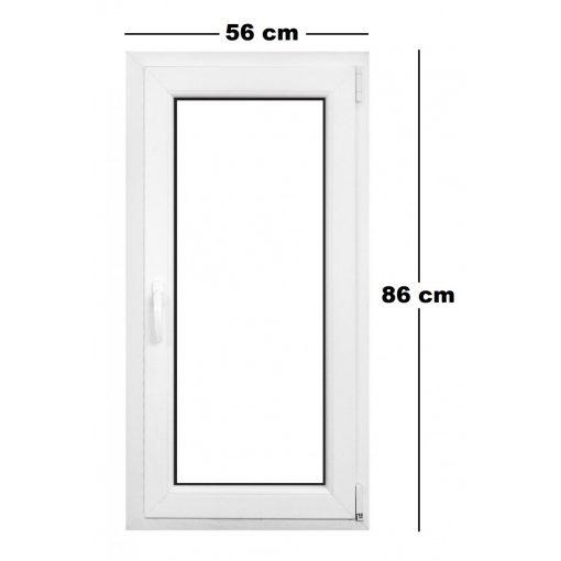 Műanyag ablak fehér 56x86cm 6 kamrás Bukó/Nyíló