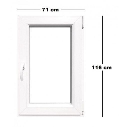 Műanyag ablak, TeraGlass, 6 kamrás, fehér, 71 x 116 cmm bukó / nyíló