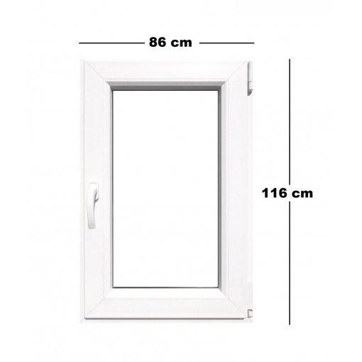 Műanyag ablak fehér 86x116cm 6 kamrás Bukó/Nyíló