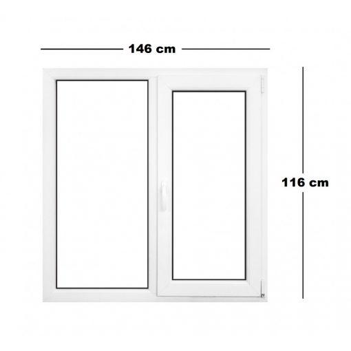 Műanyag ablak fehér 146 x 116 cm 6 kamrás Fix+Bukó/Nyíló