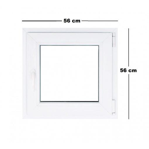 Műanyag ablak fehér 56x56cm 7 kamrás Bukó/Nyíló