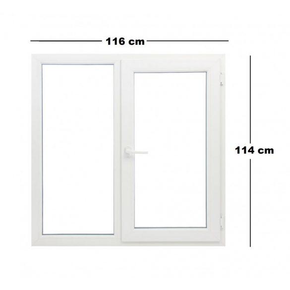 Műanyag ablak fehér 116x114cm 7 kamrás Fix+Bukó/Nyíló