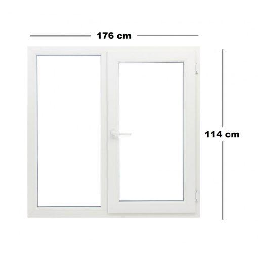 Műanyag ablak fehér 176x114cm 7 kamrás Fix+Bukó/Nyíló