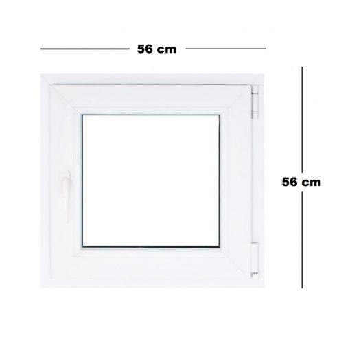 Műanyag ablak fehér 56x56cm 3 kamrás Nyíló