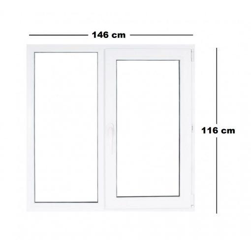 Műanyag ablak fehér 146x116cm 3 kamrás Fix+Nyíló