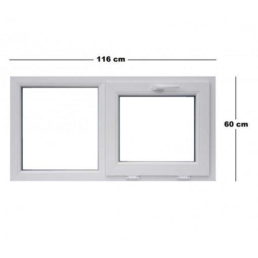 Műanyag ablak, 3 kamrás, fehér, 116 x 60 cm, bukó