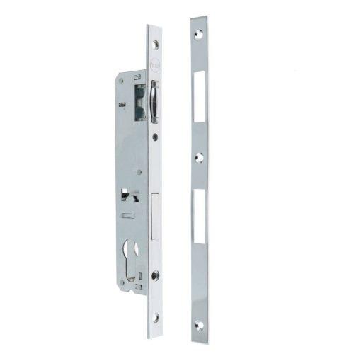 Ajtózár  külső ajtókhoz, hengerrel + előlaplal, 20 x 85 mm
