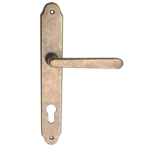Verofer bejárati ajtó kilincs, antikbarnás, 240 x 120 mm