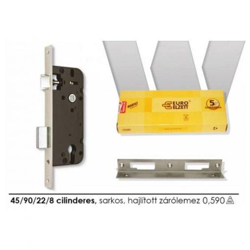 Ajtózár ELZETT 4320 univerzális 45/90/22/8 cilinderes, sarkos, hajlított záról.