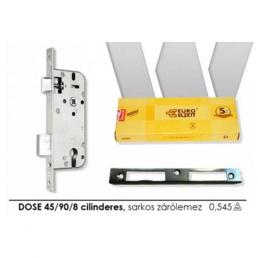Ajtózár ELZETT 3410-C DOSE 45/90/8 cilinderes, sarkos